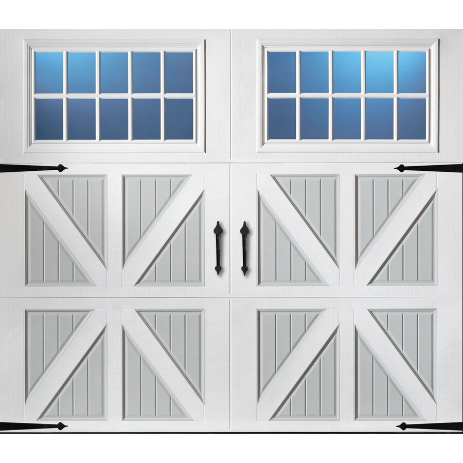 Pella Series 108-in x 84-in Insulated True White-Gray Garage Door Windows