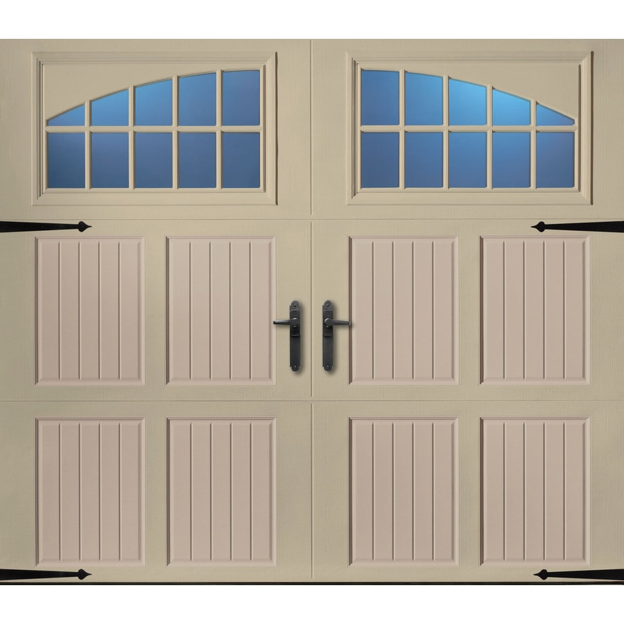 Pella 96-in x 84-in Insulated Wicker Tan-Sandtone Single Garage Door with Windows