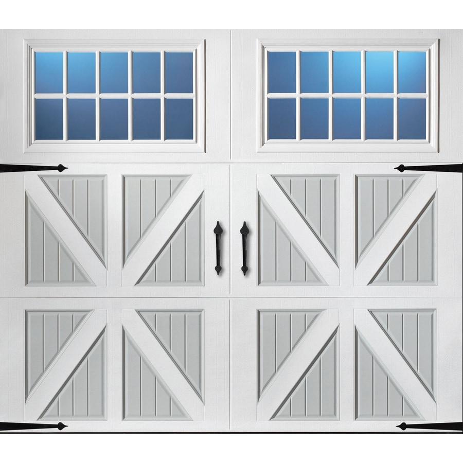 Pella 96-in x 84-in Insulated True White-Gray Single Garage Door with Windows
