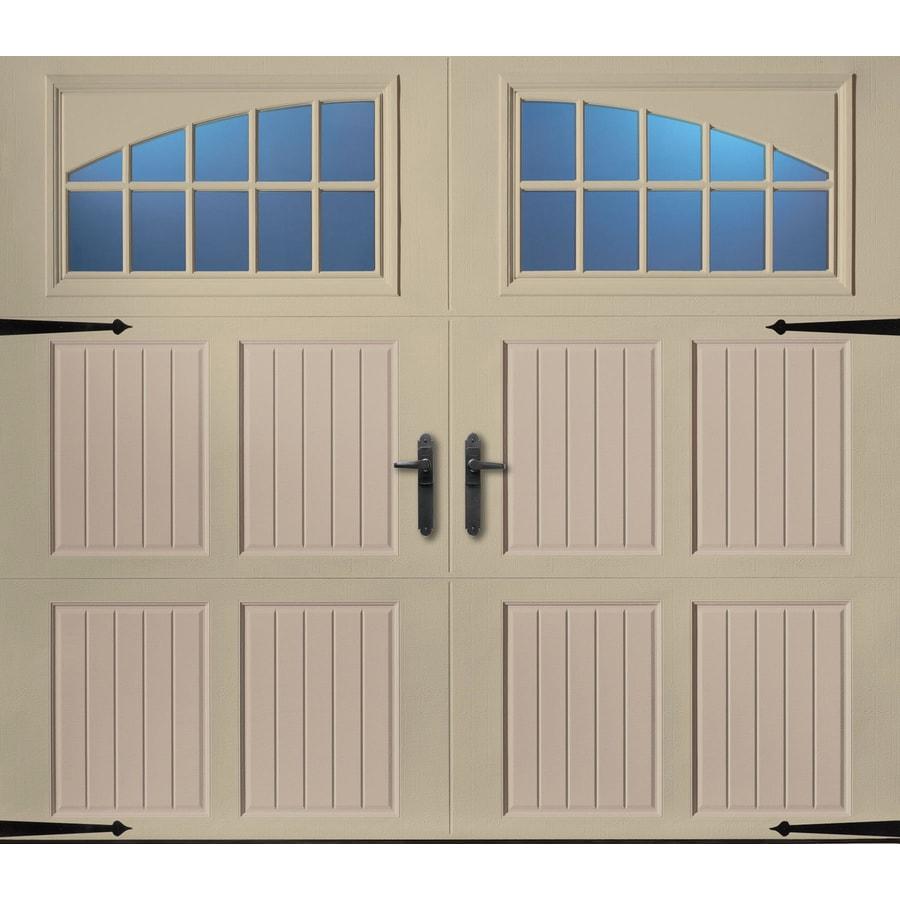 Pella 108-in x 84-in Insulated Wicker Tan-Sandtone Single Garage Door with Windows
