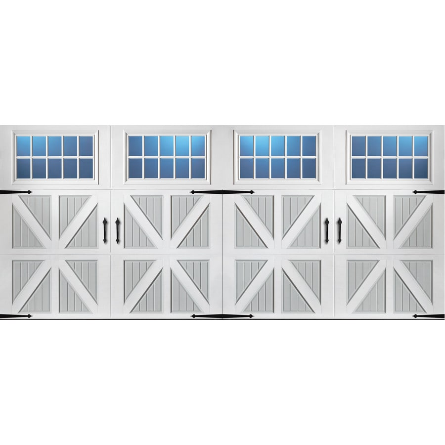Pella Series 192-in x 84-in Insulated True White-Gray Double Garage Door Windows