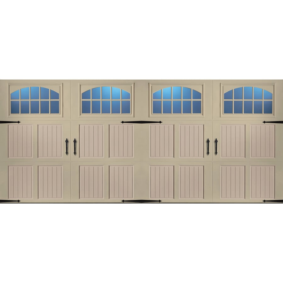 Pella Series 192-in x 84-in Insulated Wicker Tan-Sandtone Double Garage Door Windows