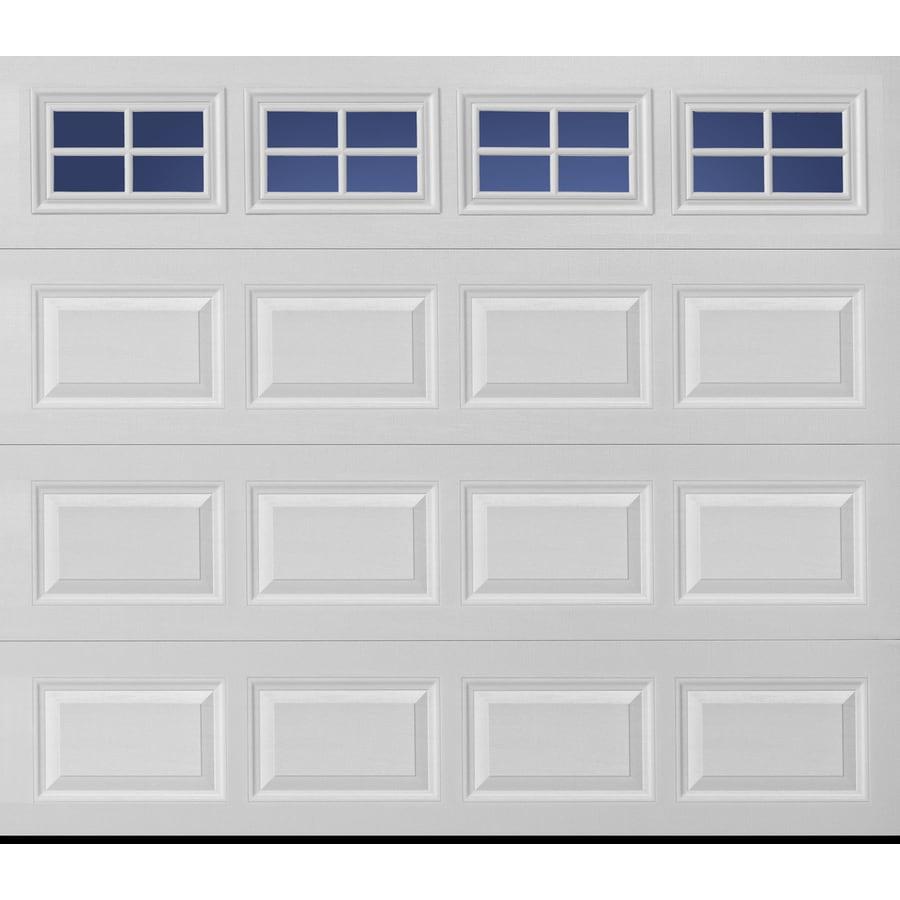 Pella Sutherland 2L 96-in x 84-in Insulated True White Double Garage Door with Windows