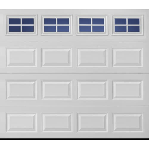 Pella Sutherland 2l 96 In X 84 In Insulated True White Double Garage Door With Windows In The Garage Doors Department At Lowes Com