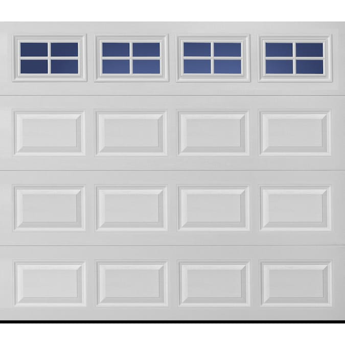 Pella Sutherland 2l 108 In X 84 In Insulated True White Single Garage Door With Windows In The Garage Doors Department At Lowes Com