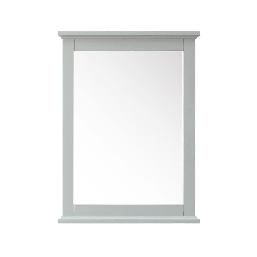 Azzuri Aurora 24-in x 32-in Light Gray Rectangular Framed Bathroom Mirror