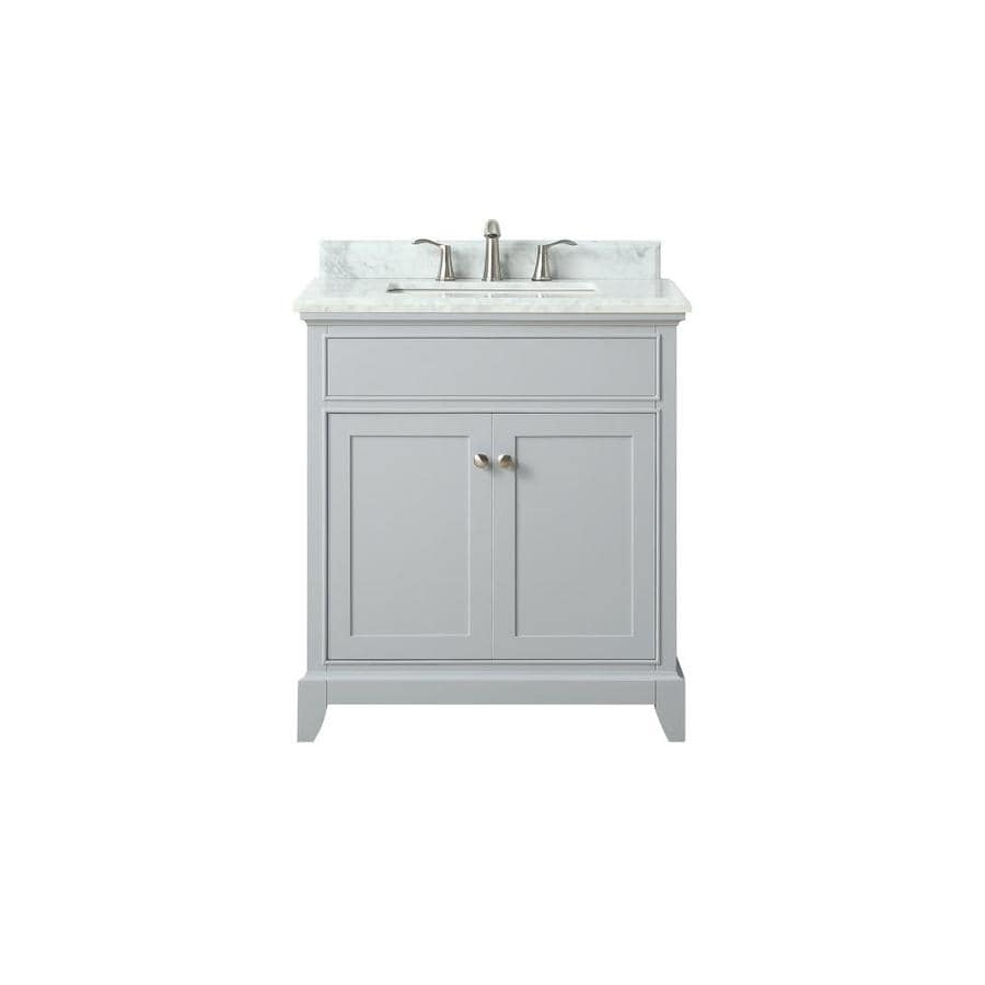 Avanity Aurora Light Gray Undermount Single Sink Bathroom Vanity with Natural Marble Top (Common: 31-in x 22-in; Actual: 31-in x 22-in)