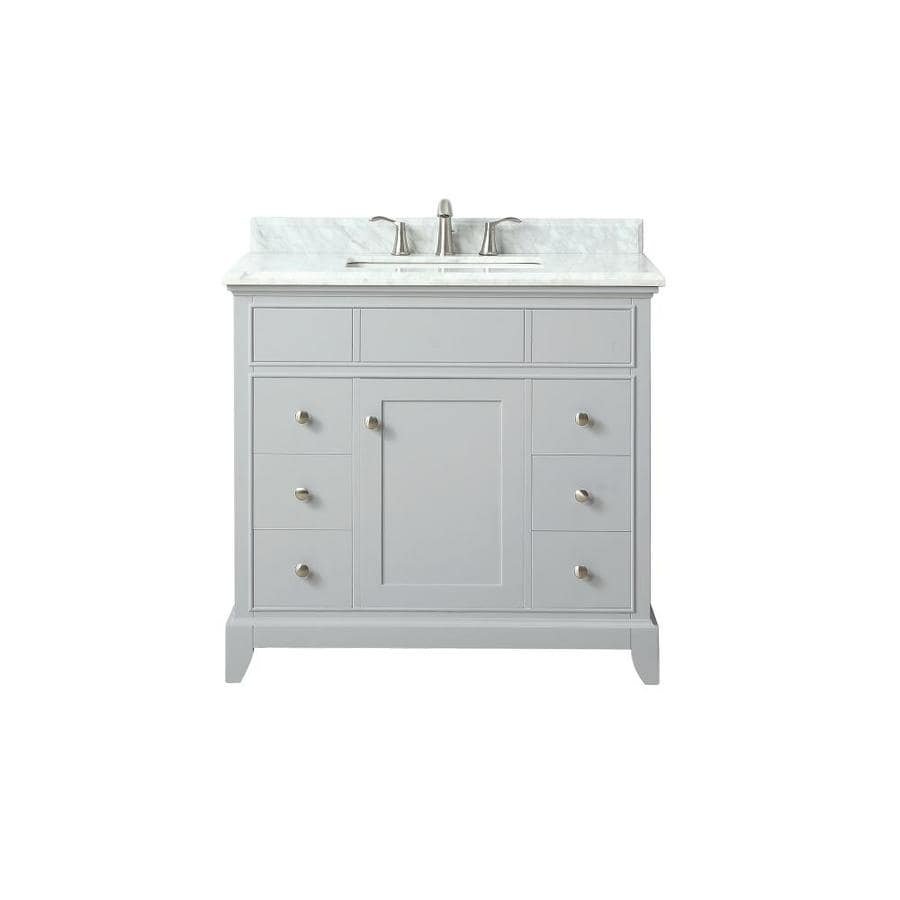 Azzuri Aurora Light Gray Undermount Single Sink Bathroom Vanity with Natural Marble Top (Common: 37-in x 22-in; Actual: 37-in x 22-in)