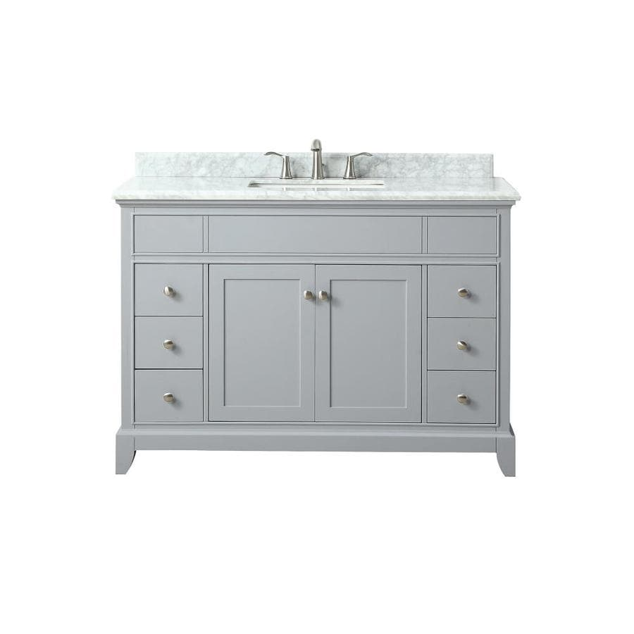 Azzuri Aurora Light Gray Undermount Single Sink Bathroom Vanity with Natural Marble Top (Common: 49-in x 22-in; Actual: 49-in x 22-in)