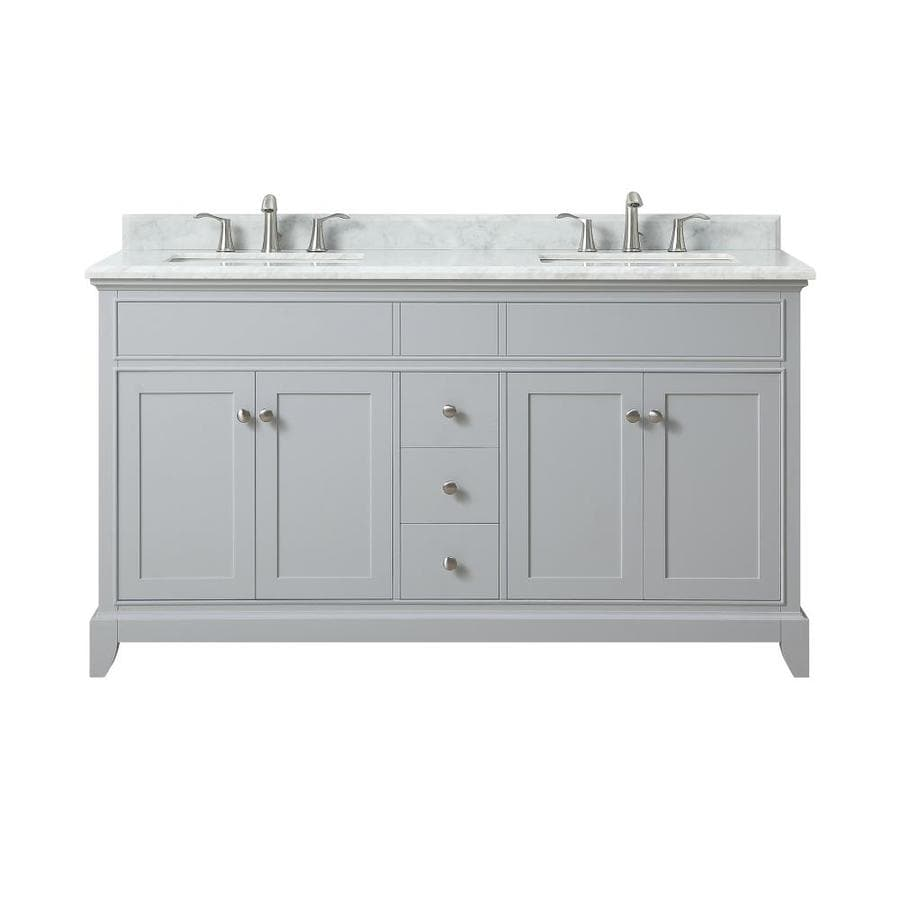 Azzuri Aurora Light Gray Undermount Double Sink Bathroom Vanity with Natural Marble Top (Common: 61-in x 22-in; Actual: 61-in x 22-in)