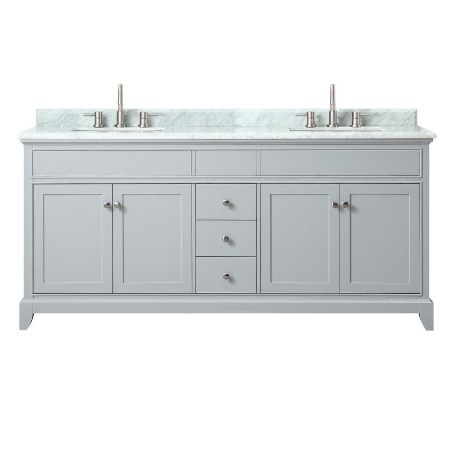 Azzuri Aurora Light Gray Undermount Double Sink Bathroom Vanity with Natural Marble Top (Common: 73-in x 22-in; Actual: 73-in x 22-in)