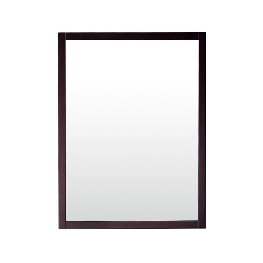 Azzuri Rockford 24-in x 32-in Dark Espresso Rectangular Framed Bathroom Mirror