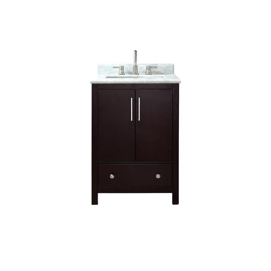 Avanity Rockford Dark Espresso Undermount Single Sink Bathroom Vanity with Natural Marble Top (Common: 25-in x 22-in; Actual: 25-in x 22-in)