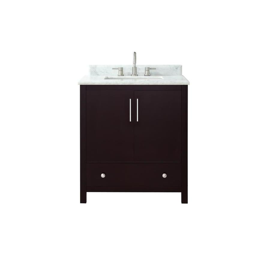 Avanity Rockford Dark Espresso Undermount Single Sink Bathroom Vanity with Natural Marble Top (Common: 31-in x 22-in; Actual: 31-in x 22-in)