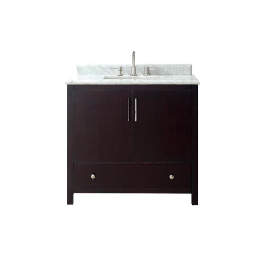 Avanity Rockford Dark Espresso Undermount Single Sink Bathroom Vanity with Natural Marble Top (Common: 37-in x 22-in; Actual: 37-in x 22-in)