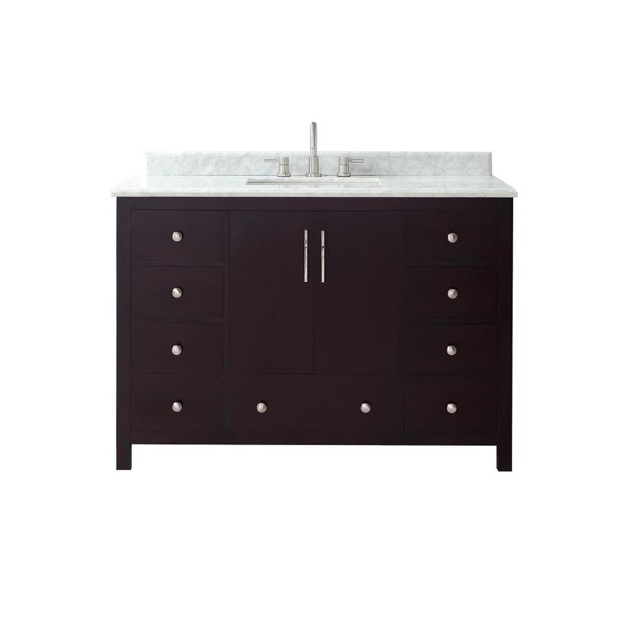Azzuri Rockford Dark Espresso Undermount Single Sink Bathroom Vanity with Natural Marble Top (Common: 49-in x 22-in; Actual: 49-in x 22-in)
