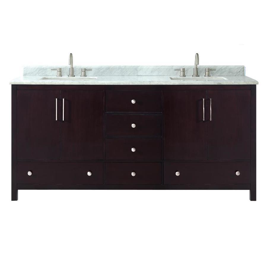 Azzuri Rockford Dark Espresso Undermount Double Sink Bathroom Vanity with Natural Marble Top (Common: 73-in x 22-in; Actual: 73-in x 22-in)