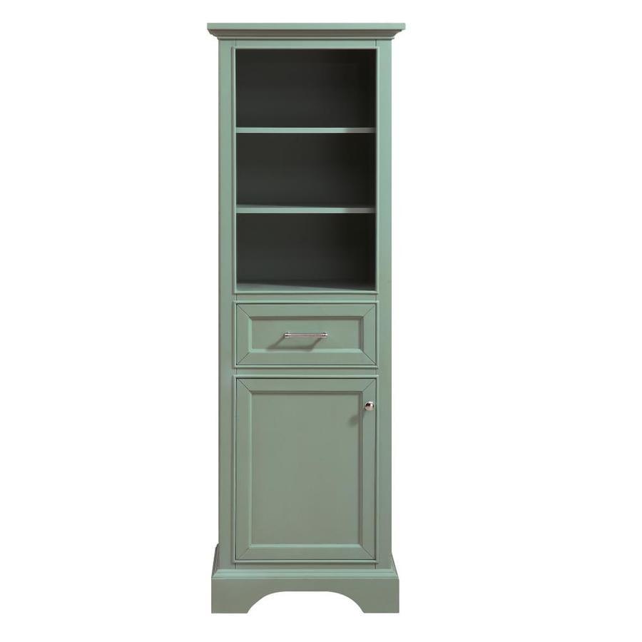 Azzuri Mercer 22-in W x 65-in H x 16-in D Sea Green Poplar Freestanding Linen Cabinet
