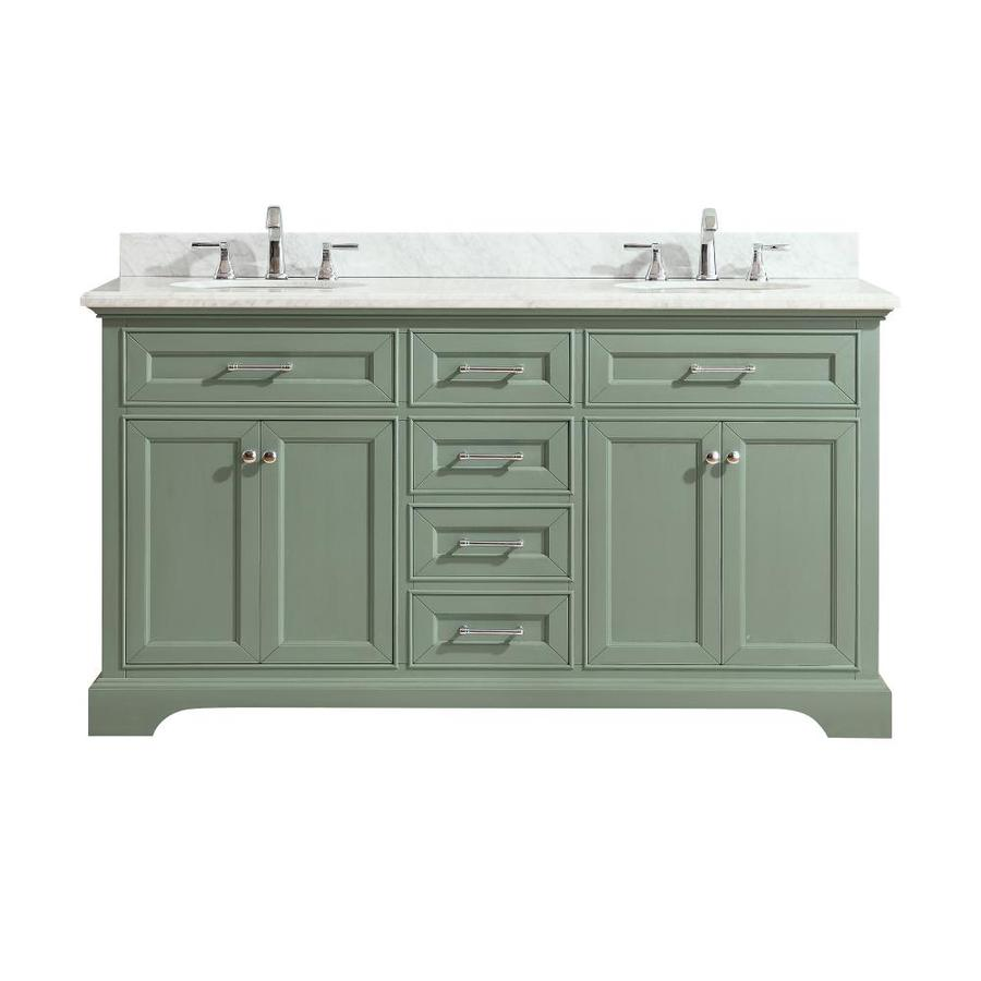 Avanity Mercer Sea Green Undermount Double Sink Bathroom Vanity with Natural Marble Top (Common: 61-in x 22-in; Actual: 61-in x 22-in)