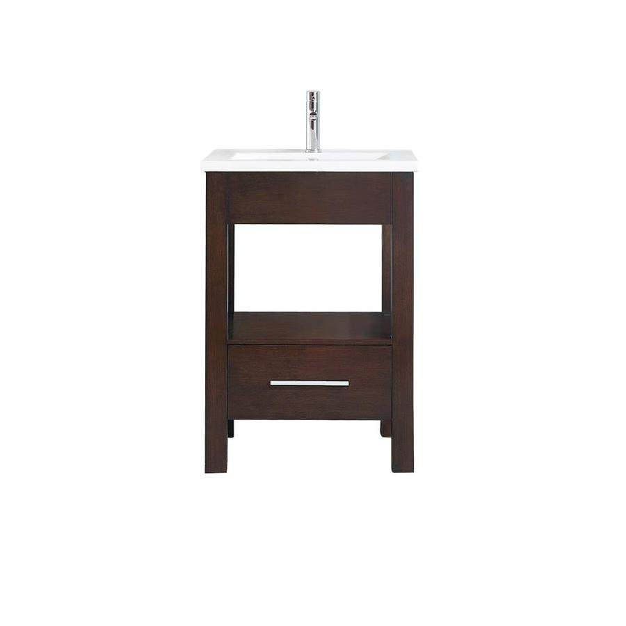 Azzuri Cityloft Light Espresso Integral Single Sink Bathroom Vanity with Vitreous China Top (Common: 25-in x 22-in; Actual: 25-in x 22-in)