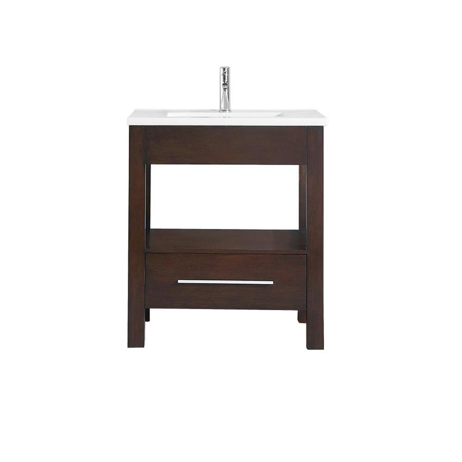 Azzuri Cityloft Light Espresso Integral Single Sink Bathroom Vanity with Vitreous China Top (Common: 31-in x 22-in; Actual: 31-in x 22-in)