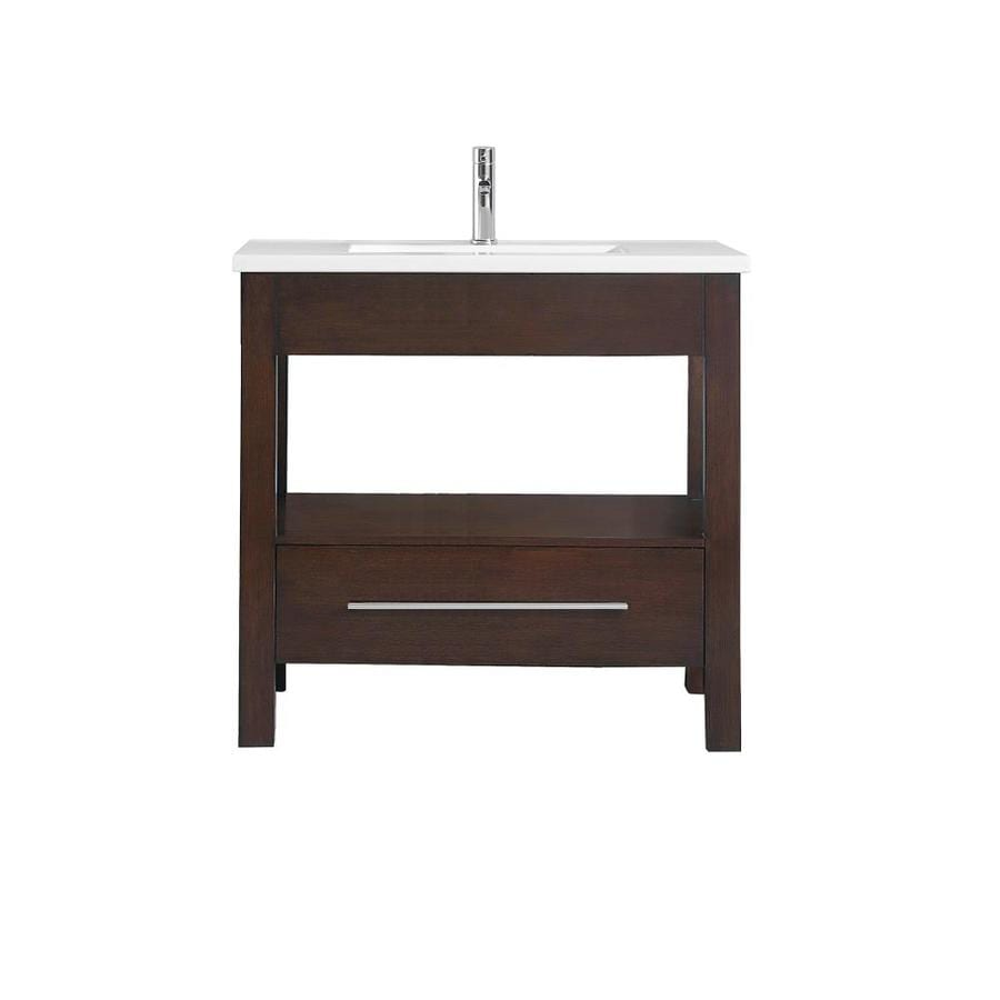 Azzuri Cityloft Light Espresso Integral Single Sink Bathroom Vanity with Vitreous China Top (Common: 37-in x 22-in; Actual: 37-in x 22-in)