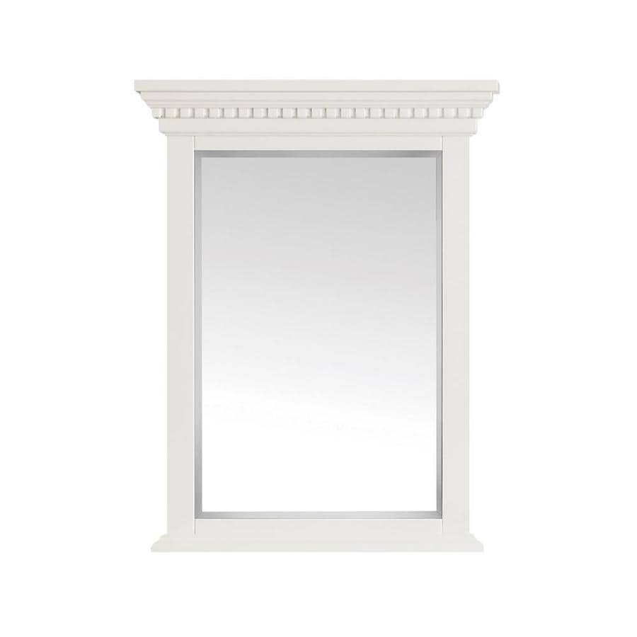 Azzuri Hastings 24-in x 32-in French White Rectangular Framed Bathroom Mirror