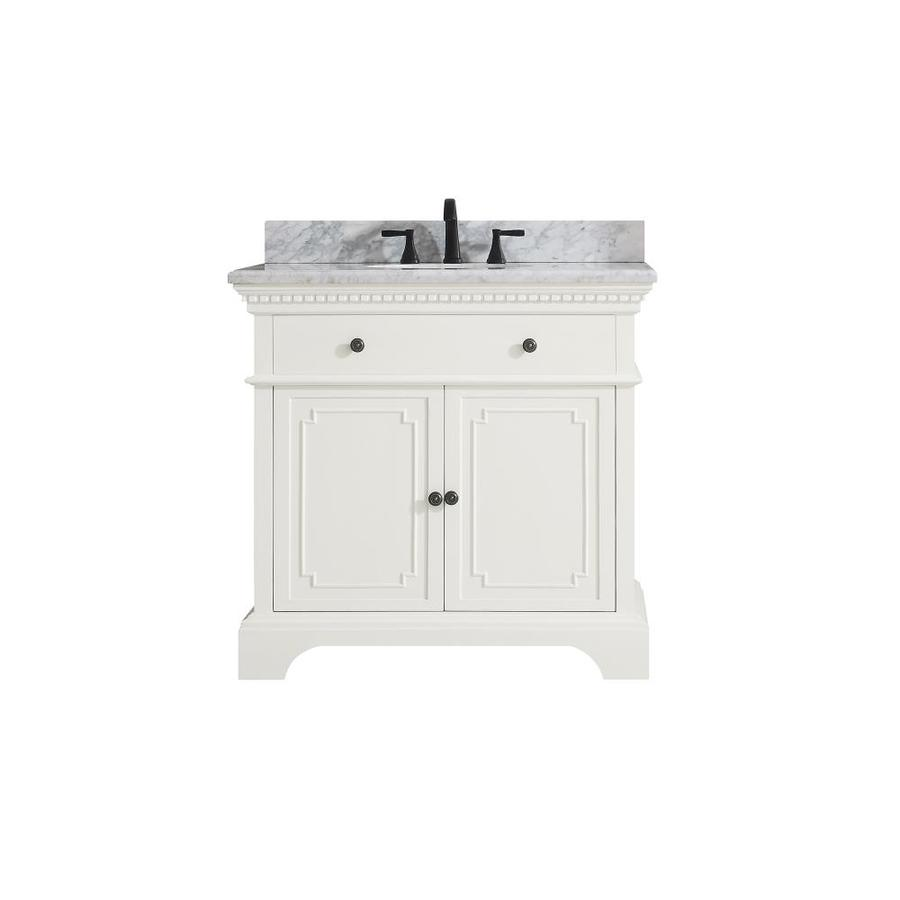 Avanity Hastings French White Undermount Single Sink Bathroom Vanity with Natural Marble Top (Common: 37-in x 22-in; Actual: 37-in x 22-in)