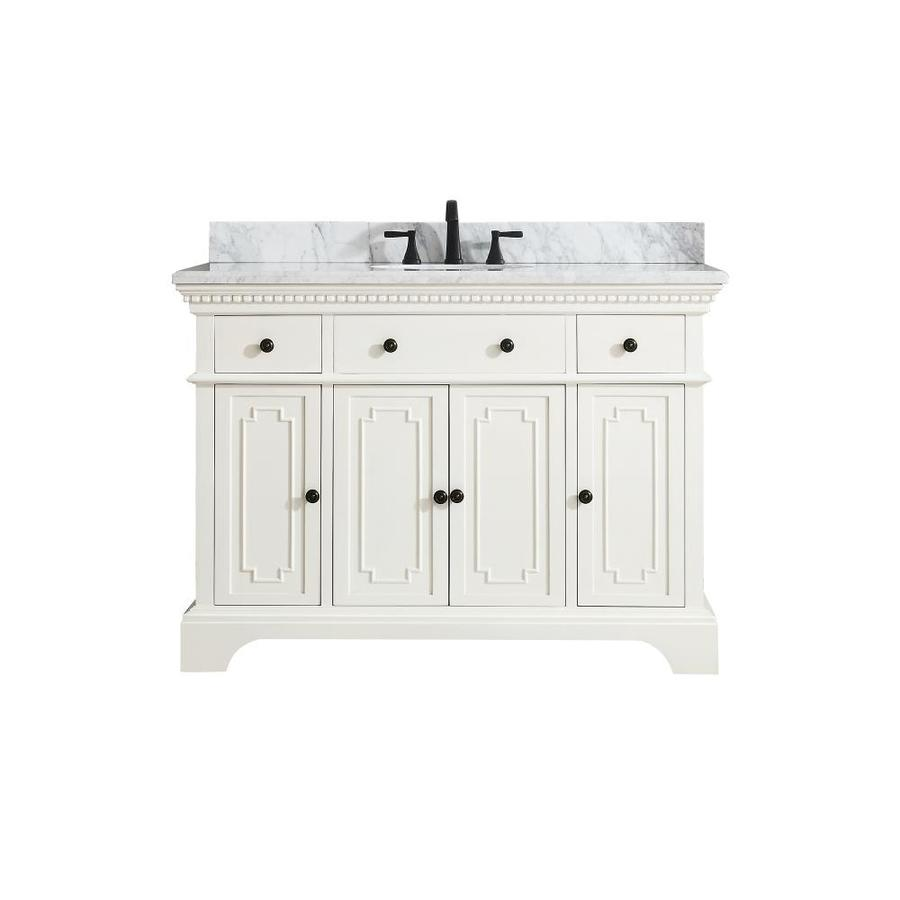 Azzuri Hastings French White Undermount Single Sink Bathroom Vanity with Natural Marble Top (Common: 49-in x 22-in; Actual: 49-in x 22-in)