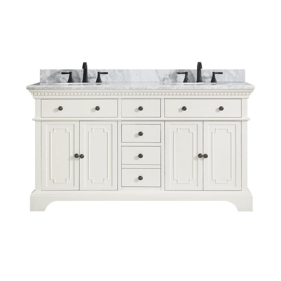 Avanity Hastings French White Undermount Double Sink Bathroom Vanity with Natural Marble Top (Common: 61-in x 22-in; Actual: 61-in x 22-in)