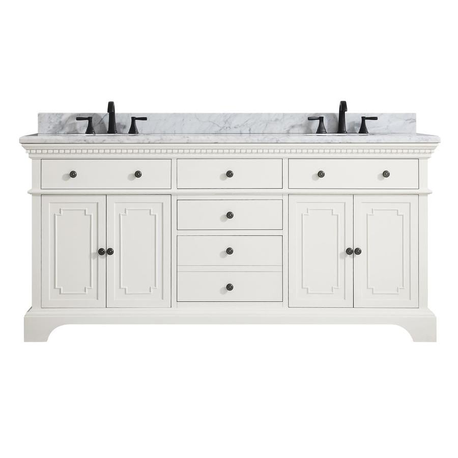 Azzuri Hastings French White Undermount Double Sink Bathroom Vanity with Natural Marble Top (Common: 73-in x 22-in; Actual: 73-in x 22-in)