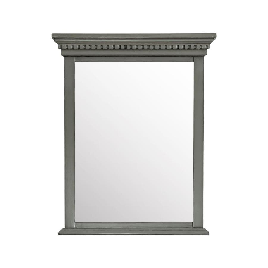 Avanity Azzuri Hastings 28-in x 32-in French Gray Rectangular Framed Bathroom Mirror