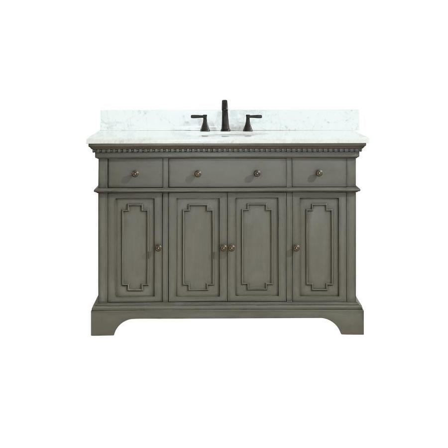 Azzuri Hastings French Gray Undermount Single Sink Bathroom Vanity With  Natural Marble Top (Common: