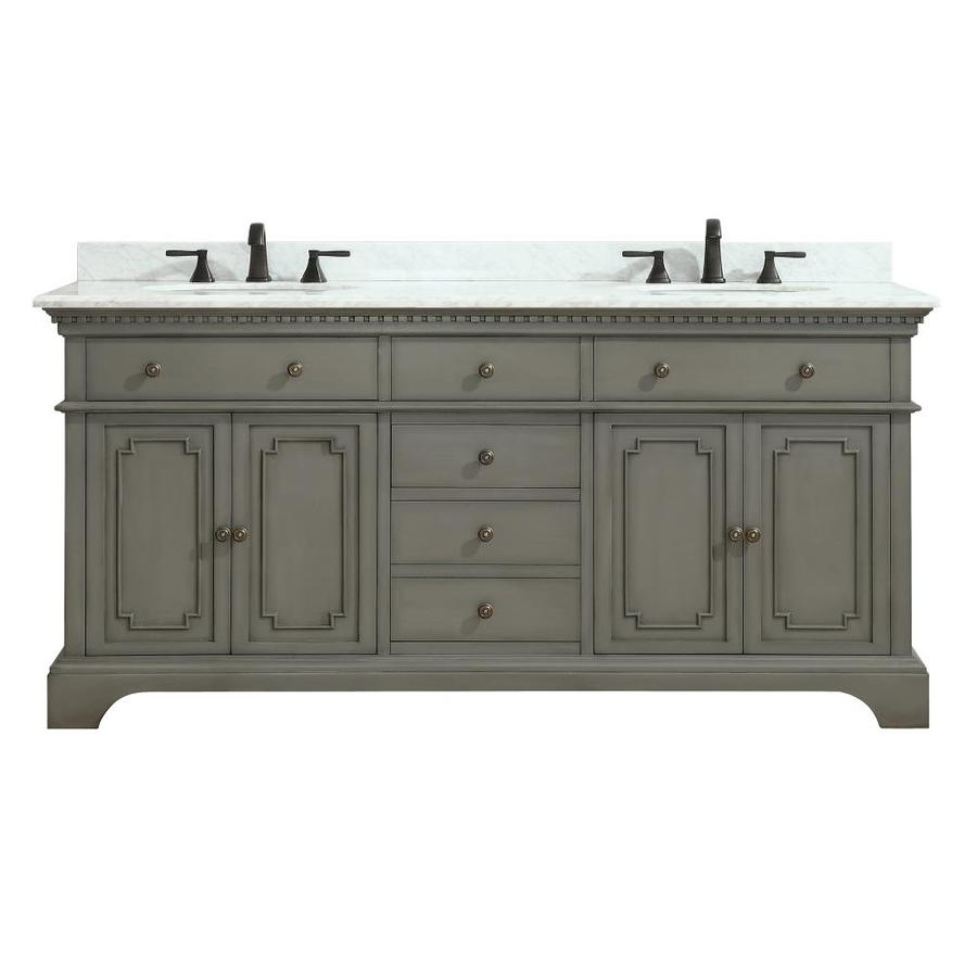 Azzuri Hastings French Gray Undermount Double Sink Bathroom Vanity with Natural Marble Top (Common: 73-in x 22-in; Actual: 73-in x 22-in)