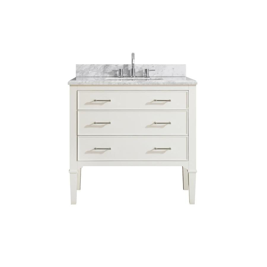 Azzuri Arlington White Undermount Single Sink Bathroom Vanity with Natural Marble Top (Common: 37-in x 22-in; Actual: 37-in x 22-in)