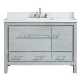Azzuri Riley Sea Salt Gray Undermount Single Sink Bathroom Vanity With Engineered Stone Top Common