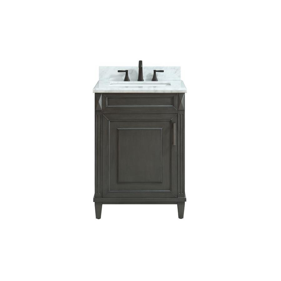 Avanity Sterling Charcoal Undermount Single Sink Bathroom Vanity with Natural Marble Top (Common: 25-in x 22-in; Actual: 25-in x 22-in)