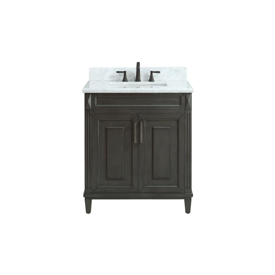 Azzuri Sterling Charcoal Undermount Single Sink Bathroom Vanity with Natural Marble Top (Common: 31-in x 22-in; Actual: 31-in x 22-in)