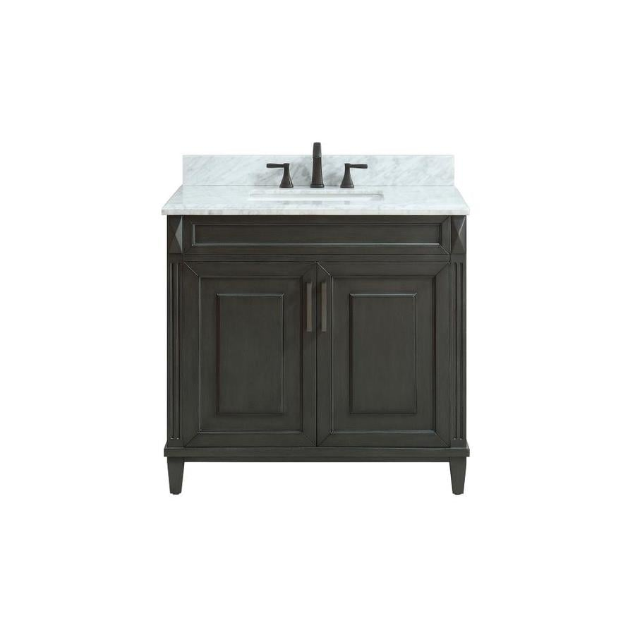 Avanity Sterling Charcoal Undermount Single Sink Bathroom Vanity with Natural Marble Top (Common: 37-in x 22-in; Actual: 37-in x 22-in)