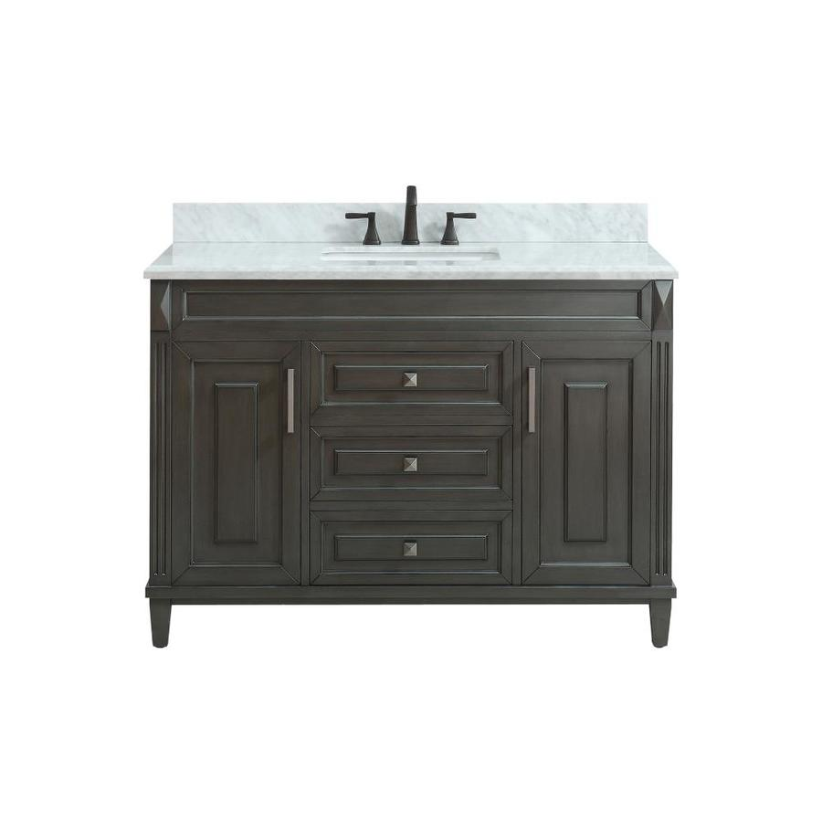 Avanity Sterling Charcoal Undermount Single Sink Bathroom Vanity with Natural Marble Top (Common: 49-in x 22-in; Actual: 49-in x 22-in)