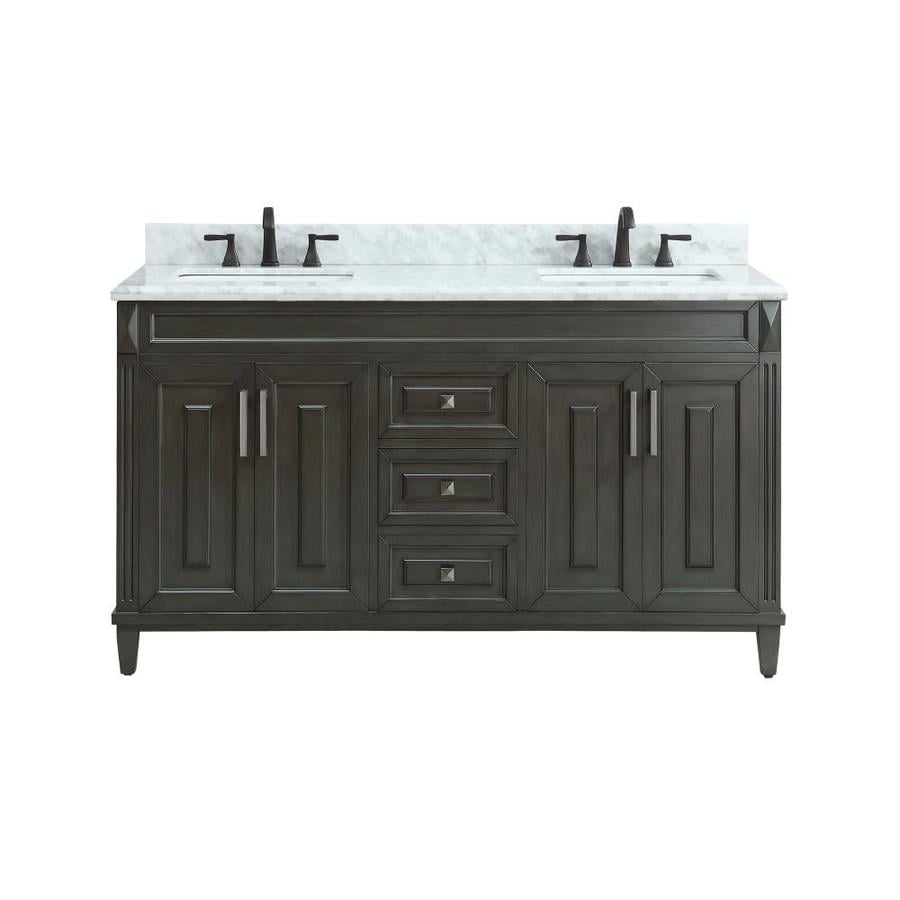 Avanity Sterling Charcoal Undermount Double Sink Bathroom Vanity with Natural Marble Top (Common: 61-in x 22-in; Actual: 61-in x 22-in)