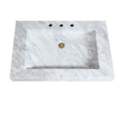 Avanity 33 In Carrera White Natural Marble Bathroom Vanity