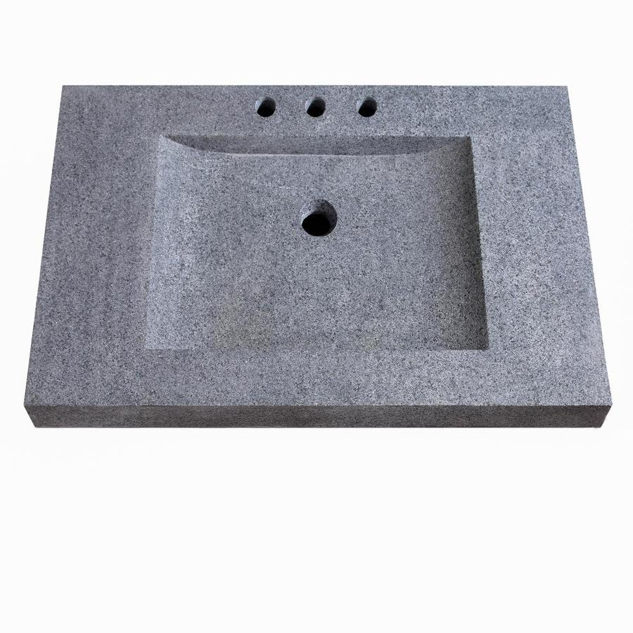 Shop Avanity Gray Granite Integral Single Sink Bathroom Vanity Top on high-end bathroom vanity, 44 bathroom vanity, 48 bathroom vanity, single sink bathroom vanity, 42 bathroom vanity, 30 inch bathroom vanity, white bathroom vanity, black bathroom vanity,
