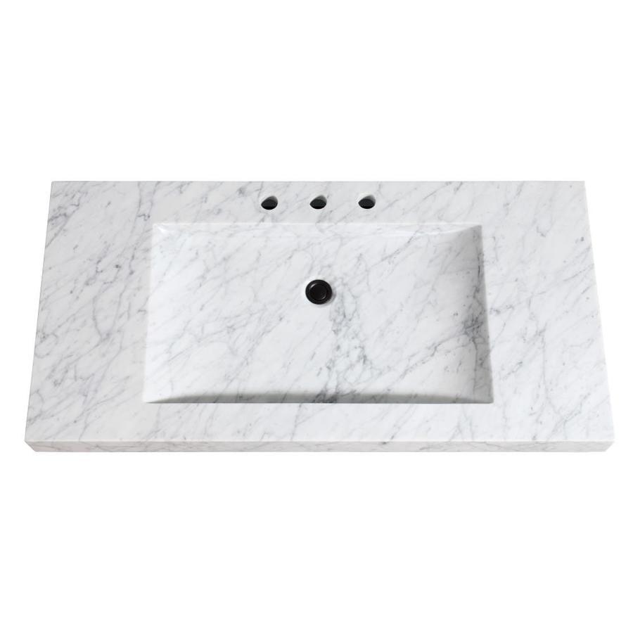 Avanity Carrera White Natural Marble Integral Single Sink Bathroom Vanity Top Common 43