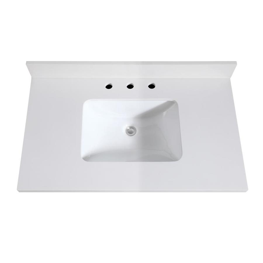 Avanity 37 In White Quartz Single Sink Bathroom Vanity Top In The Bathroom Vanity Tops Department At Lowes Com