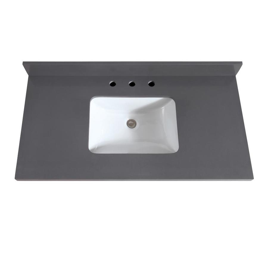 Avanity Gray Quartz Undermount Single Sink Bathroom Vanity Top Common 43 In X