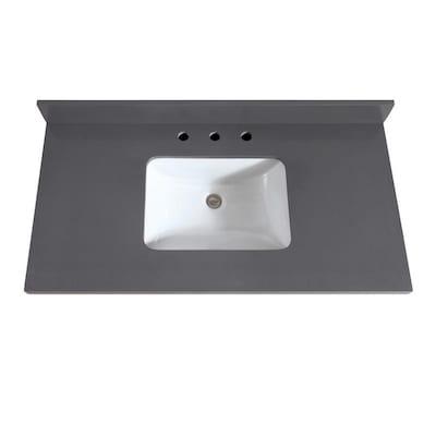 Fabulous Avanity 43 In Gray Quartz Bathroom Vanity Top At Lowes Com Download Free Architecture Designs Grimeyleaguecom