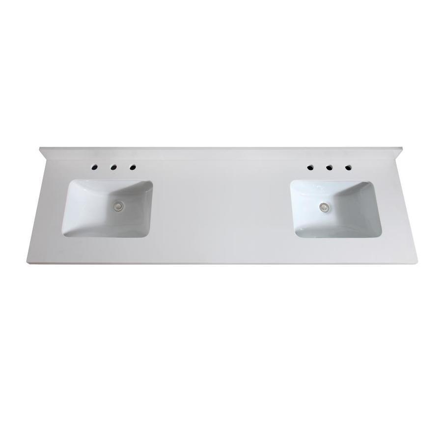Avanity White Quartz Undermount Double Sink Bathroom Vanity Top Common 73 In X