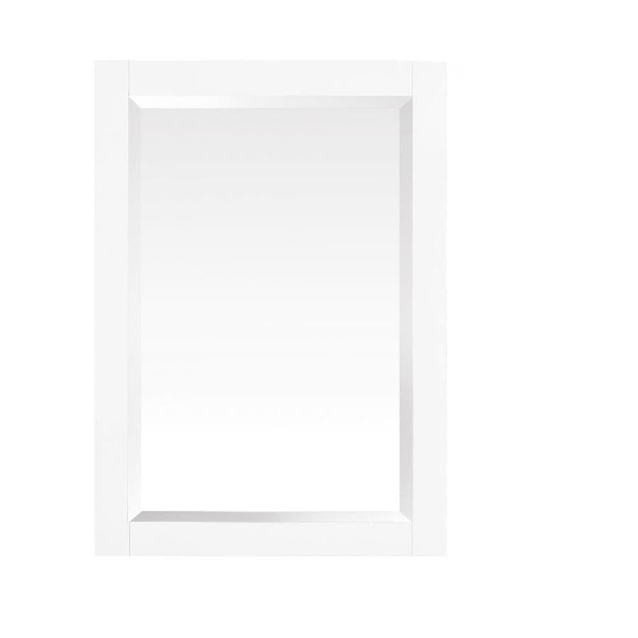 Azzuri azzuri riley 24 in white rectangular bathroom mirror at for White rectangular bathroom mirror