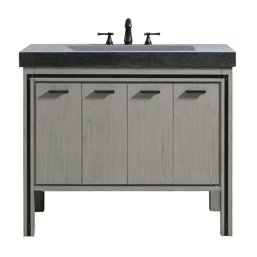 Shop avanity dexter rustic gray integral single sink bathroom vanity with granite top common for Rustic bathroom vanities lowes
